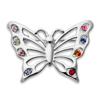 Sterling 8 Birthstone Butterfly Pin with complimentary Filigree Keepsake Box - UPC 825008257757