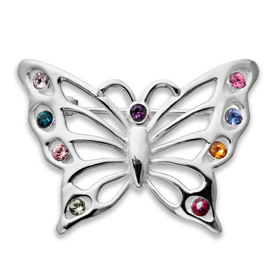 Sterling 9 Birthstone Butterfly Pin with complimentary Filigree Keepsake Box - Sterling Silver Family Birthstone Jewelry