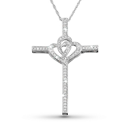 .33 CT Diamond Double Hearts Cross Necklace with complimentary Filigree Keepsake Box - Bridal Jewelry