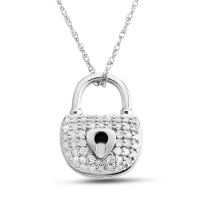 .33 CT Diamond Padlock Pendant Necklace with complimentary Filigree Keepsake Box - Sterling Silver Necklaces
