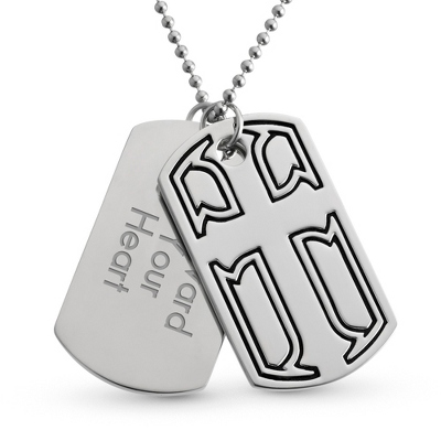 Cross Double Dog Tag- Horizontal with complimentary Tri Tone Valet Box - Men's Jewelry