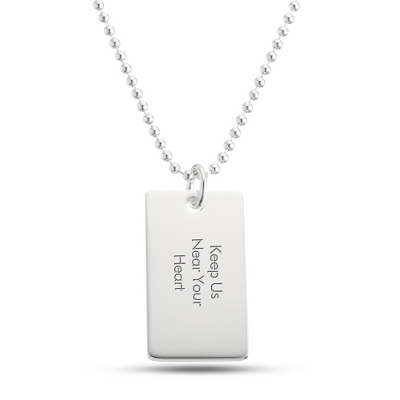 Classically Silver Dog Tag- Horizontal