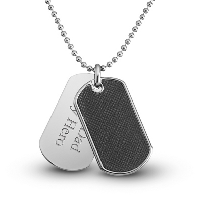 Black Textured Dog Tag- Horizontal with complimentary Tri Tone Valet Box - Men's Jewelry