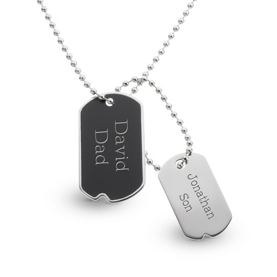 Black Matte Dog Tags with complimentary Tri Tone Valet Box - Men's Jewelry