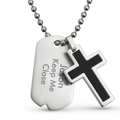 Black Cross Dog Tag Pendant- Horizontal with complimentary Tri Tone Valet Box