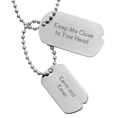 Urban Double Dog Tag- Horizontal with complimentary Tri Tone Valet Box