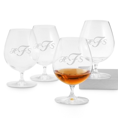 Set of Four Brandy Glasses with Monogram