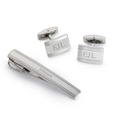 Silver Cuff Link and Tie Clip Set with complimentary Weave Texture Valet Box