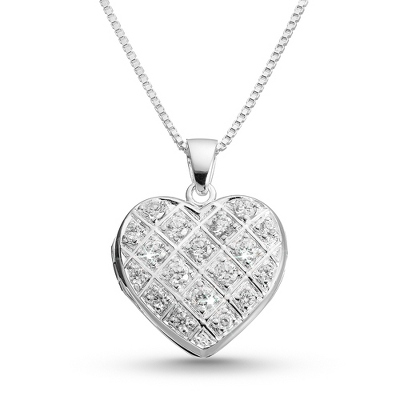 Pave Heart Locket with complimentary Filigree Heart Box - Bridal Jewelry