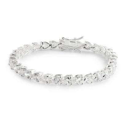 Heart Tennis Bracelet with complimentary Filigree Heart Box - Bridal Jewelry
