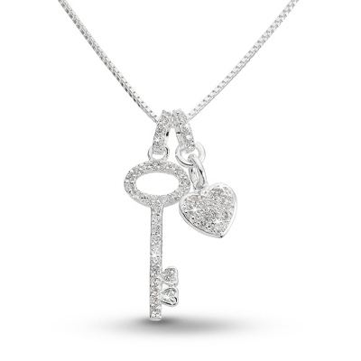 Pave Key Necklace with complimentary Filigree Heart Box - Bridal Jewelry