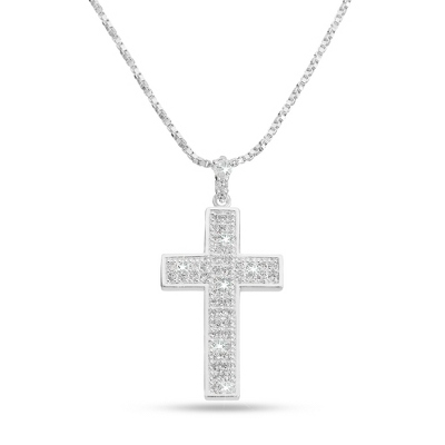 Pave Cross Necklace with complimentary Filigree Heart Box - Bridal Jewelry