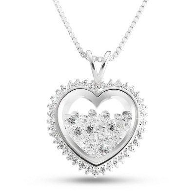 Floating Crystal Heart Necklace with complimentary Filigree Heart Box - Bridal Jewelry