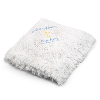 Boy Cross Design on White Mini Heart Throw