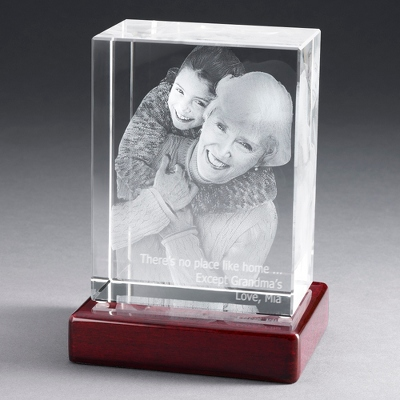 "Portrait 6"" Photo Crystal with Rosewood Base - $250.00"