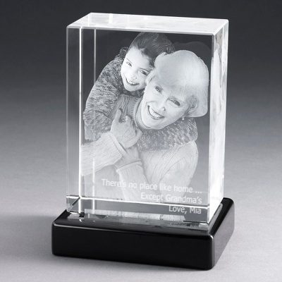 "Portrait 6"" Photo Crystal with Black Base - $250.00"