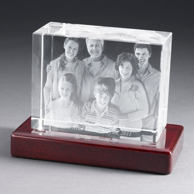 "Landscape 6"" Photo Crystal with Rosewood Base - $250.00"