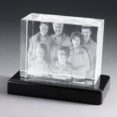 "Landscape 6"" Photo Crystal with Black Base - $250.00"