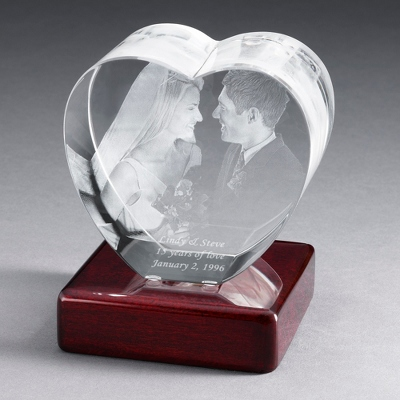 Heart Photo Crystal with Rosewood Base - $180.00