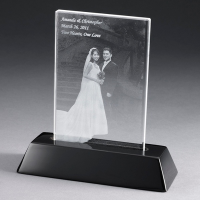 Portrait Flat Photo Crystal with Black Base