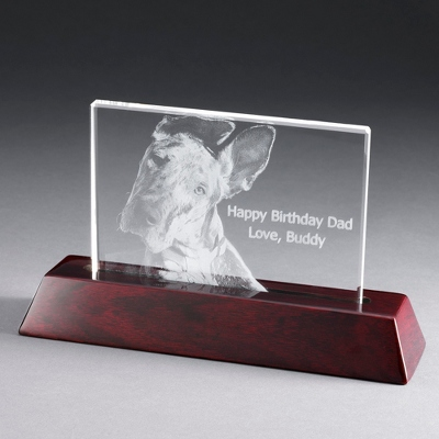Landscape Flat Photo Crystal with Rosewood Base