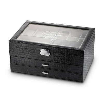 Personalized Large Black Crocodile Jewelry Box