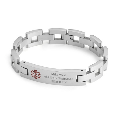 Square Medical ID Bracelet with complimentary Weave Texture Valet Box
