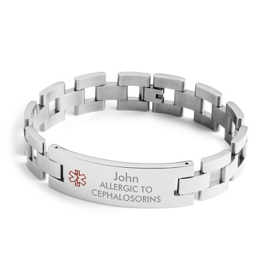 Men's Large Link Medical ID Bracelet with complimentary Tri Tone Valet Box
