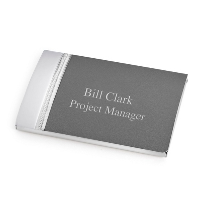Matte Grey Tri Tone Card Case - Top Groomsmen Gifts