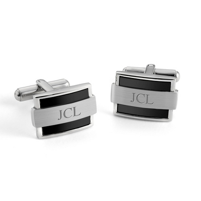 Wrapped Black Cuff Links with complimentary Tri Tone Valet Box - Tie Bars & Cuff Links