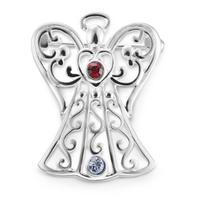 2 Birthstone Angel Pin with complimentary Filigree Keepsake Box - Religious & Inspirational Gifts