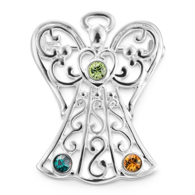 3 Birthstone Angel Pin with complimentary Filigree Keepsake Box - Religious & Inspirational Gifts