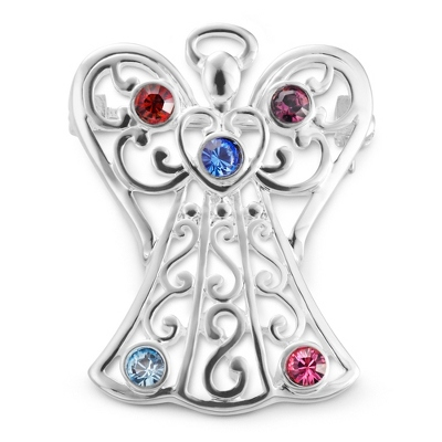 5 Birthstone Angel Pin with complimentary Filigree Keepsake Box
