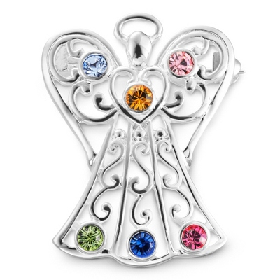 6 Birthstone Angel Pin with complimentary Filigree Keepsake Box - $45.00