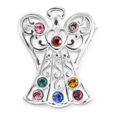 8 Birthstone Angel Pin with complimentary Filigree Keepsake Box