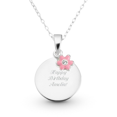 Sterling Girl's Necklace with Pink Flower with complimentary Filigree Heart Box