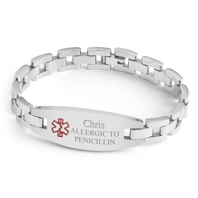 Oval Medical ID Bracelet with complimentary Classic Beveled Edge Round Keepsake Box