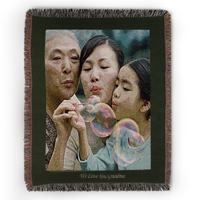 Portrait Green Border Photo Throw