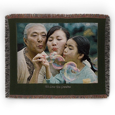 Landscape Green Border Throw - Woven Photo Throws