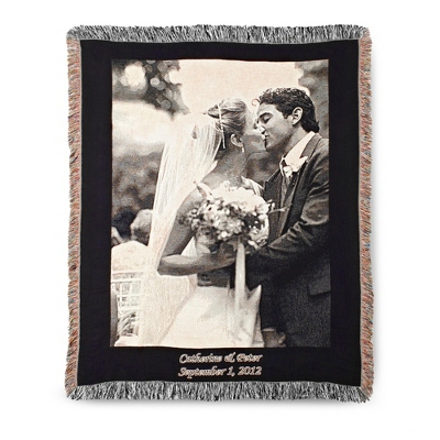 Portrait Black Border Photo Throw