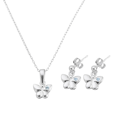 Sterling Girl's Blue Butterfly Set with complimentary Filigree Heart Box