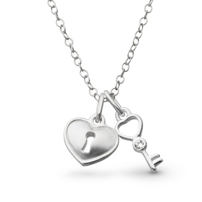 Sterling Girl's Key and Padlock Necklace with complimentary Filigree Heart Box