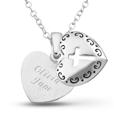 Sterling Girl's Heart with Cross Necklace with complimentary Filigree Heart Box