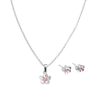 Sterling Girls Birthstone Necklace and Earring Set with complimentary Filigree Keepsake Box - Flower Girl