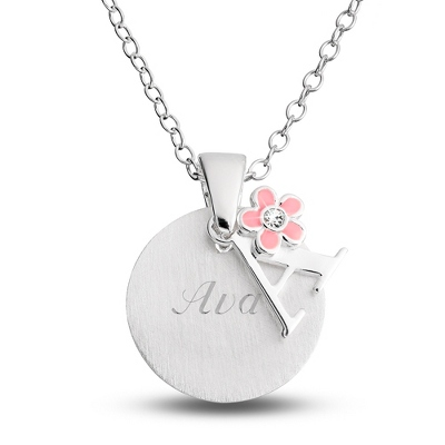 "Sterling Girl's ""A"" Initial with Flower with complimentary Filigree Keepsake Box - Flower Girl"