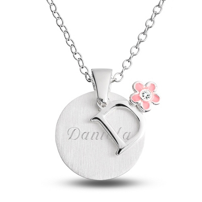 "Sterling Girl's ""D"" Initial with Flower with complimentary Filigree Keepsake Box"