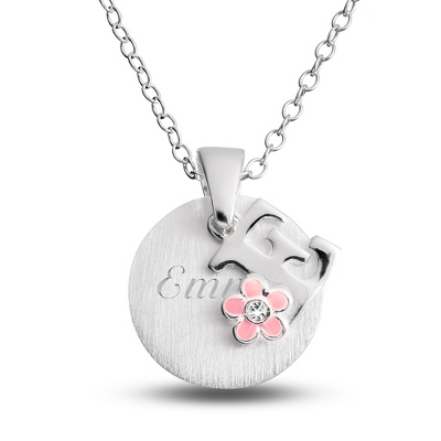 "Sterling Girl's ""E"" Initial with Flower with complimentary Filigree Keepsake Box"