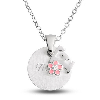 "Sterling Girl's ""F"" Initial with Flower with complimentary Filigree Keepsake Box"