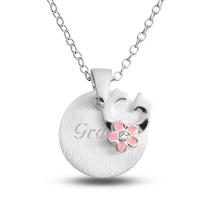 "Sterling Girl's ""G"" Initial with Flower with complimentary Filigree Keepsake Box"
