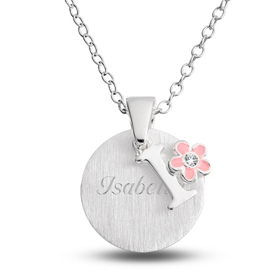"Sterling Girl's ""I"" Initial with Flower with complimentary Filigree Keepsake Box"